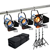 Alumotech Dimmer Built-in Fresnel Tungsten 650WX2+1000W+ Air Cushioned Stand 2300W Spotlight Halogen Lamp Studio Video Light Kit For Camera Photographic Lighting Compatible Bulb