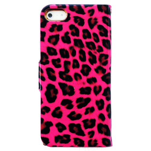 Bayke Brand / iPhone 5 Luxury Leopard Print PU Leather Wallet Type Magnet Design Glitter Bling Crystal Rhinestone Flip Case Cover with Credit Card Holder Slots (Hot Pink)