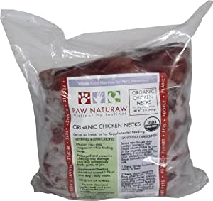 Paw Naturaw Organic Chicken Necks for Cats and Dogs, 2-Pound Bags (Pack of 4)