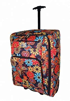 Bright multi coloured Flower Onboard Luggage Cabin Trolley Case Wheeled Hand Luggage Bag (Multicoloured)