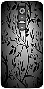 Snoogg Black Trees Seamless Vector Wallpaper Designer Protective Back Case Cover For LG G2