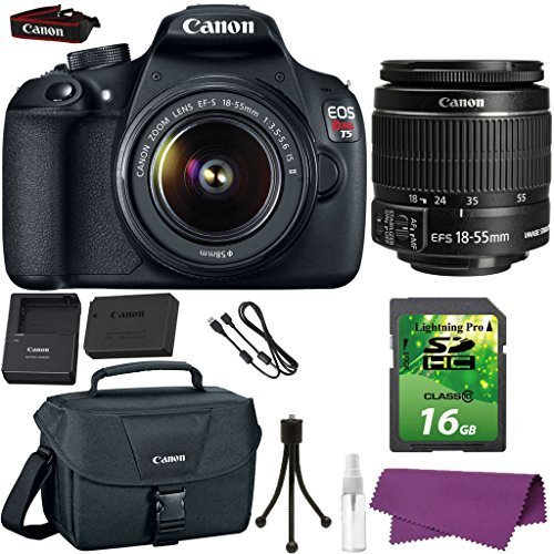 Canon EOS Rebel T5 DSLR Camera with Canon EF-S 18-55mm IS Lens. + 16GB SD Memory Card + Canon Bag + Cleaning Kit (Canon Long Range Lens compare prices)