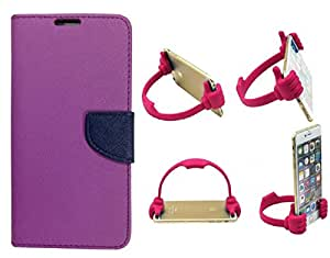 Novo Style Wallet Case Cover For Motorola Moto G Purple + Ok Stand For Smartphones And Tablets