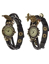 Eleganzza Beige Rose And Leaf Analogue Watch For Women Pack Of Two (black)