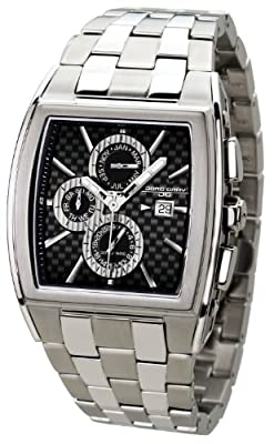 Jorg Gray Mens 6300 Multi-Function Dress Watch - Stainless - Carbon Fiber Dial