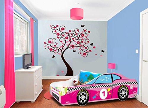 Lit enfant voiture rose sommier+matelas 140 x 70 cm