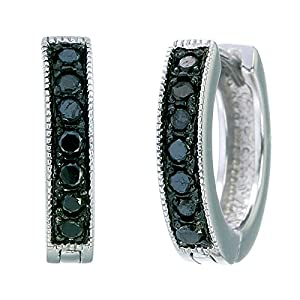 Sterling Silver Black Diamond Hoop Earrings (1/4 CT)