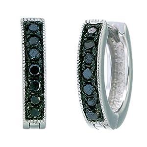 Sterling Silver Black Diamond Hoop Earrings (1/4 CT)