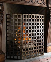 Gothic Iron Nailhead Fireplace Screen from Intelligent Design
