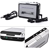 HDE Portable USB 2.0 Cassette Tape to MP3 Converter PC Capture with Headphones