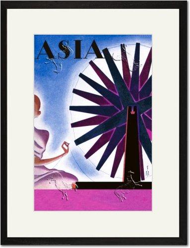 Black Framed/Matted Print 17x23, Asia Magazine: India's Symbolic Wheel