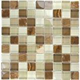 "Glass Tile Oasis - 16079, Brown Glass Stone Blend 1"" x 1"" Brown Crystile Blends Glossy Glass and Stone, Tiles, Glass, Crystile Series, Crystile Blends"