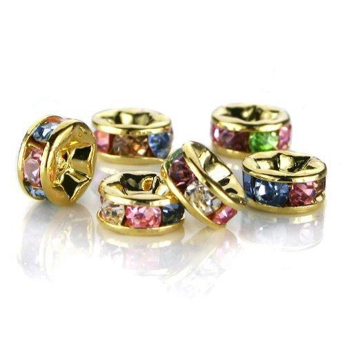 leegoal-100-pcs-swarovski-crystal-rondelle-spacer-bead-gold-plated-8mm-multicolor