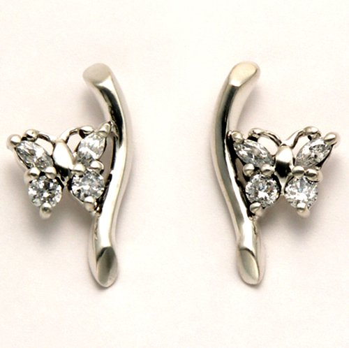 Sterling Silver White Cubic Zirconia Butterfly on Branch Stud Earrings