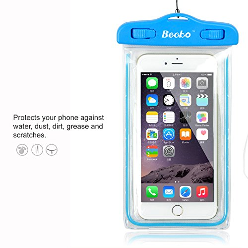 """Becko 5.5"""" Blue Waterproof Case Touch Responsive Front and Back, Universal Waterproof Wallet, Dry Bag, Pouch for Iphone 6, 6 Plus, 5, 5s, 4, Samsung Galaxy S4, Samsung Note, Gps, Mp3 Player and Digital Cameras. Perfect to Swimming, Surfing, Fishing,"""