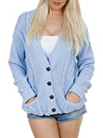 Long Sleeve Full Length Cable Knit Knitted Boyfriend Cardigan - Size 8 10 12 14 S M L XL