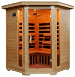 511cBeokCsL. SL160  3 Person Sauna Corner Fitting Infrared FIR FAR 7 Carbon Heaters Hemlock Wood CD Player MP3 plug in