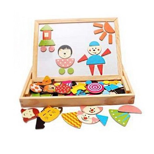 Fantastic Learning & Education Magnetic Puzzle Wooden Multifunction Writing Drawing Toys Board for Kids Imagination