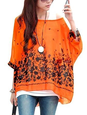 Allegra K Lady Batwing Sleeve Floral Prints Semi Sheer Chiffon Oversize Shirt