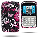 Black Pink HTC ChaCha Butterfly Flower / Floral Hydro Soft Solid TPU Silicone Print Gel Skins Mobile Phone Case Cover