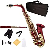 Cecilio 2Series AS-280RL Red Lacquer Eb Alto Saxophone + Mouthpiece, Case, 10 Reeds, and Accessories