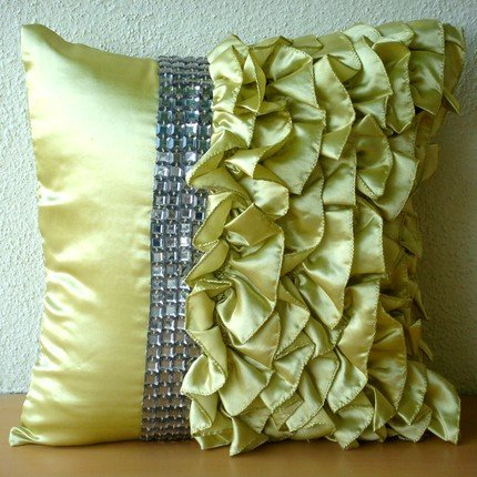 Crowning Glory - 12X12 Inches Square Decorative Throw Lime Green Satin Pillow Covers With Satin Ruffles & Crystals front-979849