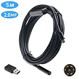 YoFew USB Endoscope Camera 2.0 Megapixels HD Borescope Inspection Camera 2 in 1 Android Endoscope Camera with Adjustable 6 LED Light Waterproof Snake Camera for Android PC 16.4 ft/ 5 Meter