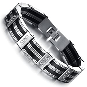 Flongo Black Rubber Stainless Steel Mens Link Chain Bracelet, 8.27 inch Wristband Cuff Bangle from Flongo