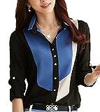 GraceLife ( グレースライフ ) シフォンシャツ レディース 配色シャツ 長袖 折襟シャツ 襟付きシャツ (0: ブルー/ブラック Sサイズ)
