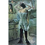 Art Panel - In A Corset By Lovis Corinth