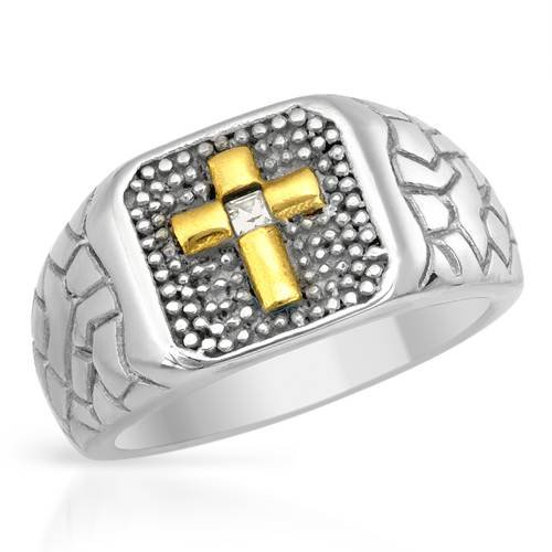 Stainless Steel 0.07 CTW Cubic Zirconia Cross Men's Ring. Ring Size 10. Total Item weight 11.9 g.