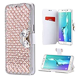 Galaxy Note 5 Wallet Case,Inspirationc® and Made Luxury 3D Bling Crystal Rhinestone Leather Purse Flip Card Pouch Stand Cover Case for Samsung Galaxy Note 5--Gold
