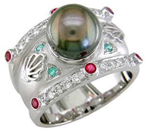 18KW Black Pearl, Red Spinel, Paraiba Tourmaline & Diamond Ring - Size 8 1/2