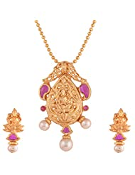 Ganapathy Gems 1 Gram Gold Plated Lakshmipandent Earing Set With Ruby CZ Stones