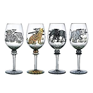 SAFARI ASSORTED GOBLETS - SAFARI COLLECTION SET OF  FOUR HANDPAINTED ASSORTED GOBLETS