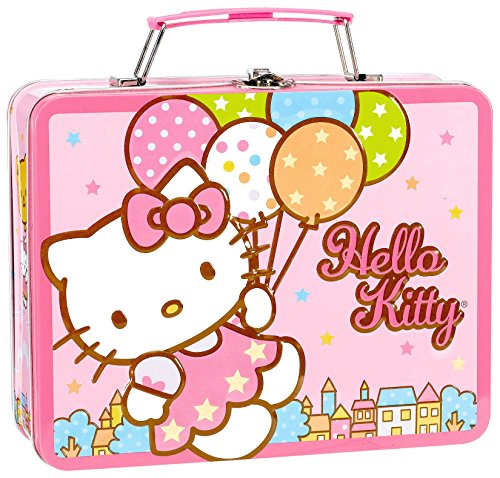 "Amscan Hello Kitty Balloon Dreams 6"" x 7-5/8"" x 2-3/4"" Metal Box with Handle - 1"