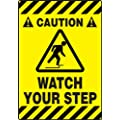 "Accuform Signs PSR624 Slip-Gard Adhesive Vinyl Mat-Style Floor Sign, Legend ""CAUTION WATCH YOUR STEP"" with Graphic, 14"" Width x 20"" Length, Black on Yellow"
