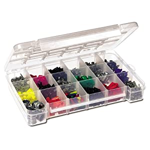 small parts storage box: clear plastic