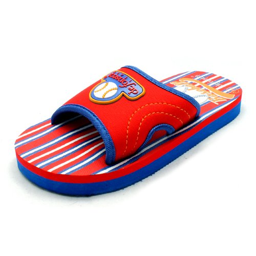 Boys Red and Blue striped sole baseball motif flip flops sandals NEW