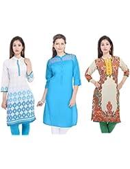 Fab Rajasthan Unique Arts Designer Weightless Printed Cotton Kurtis Combo Pack Of 3 Kurtis