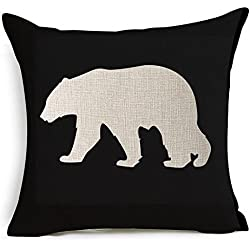 HT&PJ Decorative Cotton Linen Square Throw Pillow Case Cushion Cover Navy Background Bear Printed 18 x 18 Inches