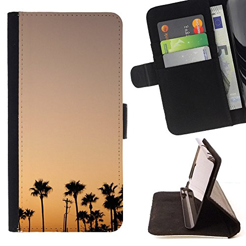 DEVIL CASE - FOR Samsung Galaxy S4 Mini i9190 - Palm Trees Sunset Sunrise Colorful Sky - Style PU Leather Case Wallet Flip Stand Flap Closure Cover (Samsung S4 Mini Palm Tree Cases compare prices)