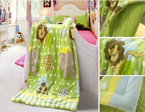 "New Baby Size Super Soft Blanket Hight Quality 100% Polyester Animal Cartoon Bed Plush Throws The Zoo 39"" X 51"" front-187318"