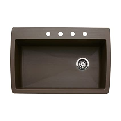 Blanco 440192-4 Diamond 4-Hole Single-Basin Drop-In or Undermount Granite Kitchen Sink, Cafe Brown