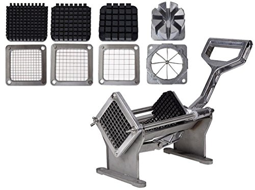Mr.Lucas French Fry Potato Press Cutter Set Fruit Vegetable Commercial Slicer Cutting W/ 4 Blades (Deluxe French Fry Cutter compare prices)