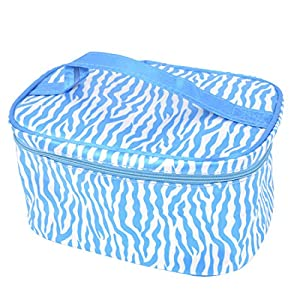 Women Zebra Pattern Zipper Closure Cosmetic Storage Bag Blue White