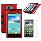MINITURTLE, Premium Sleek Dual Layer 2 in 1 Hybrid Protective TUFF Case Cover and Screen Protetor Film for Prepaid Android Smartphone LG Optimus Showtime L86C / L86G and LG Optimus Ultimate L96G from Straight Talk (Red / Black)