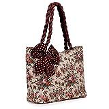 Hobo Hippie Quilt Silk Bow Women Shoulder Bag Pure Cotton Braided Hair Handle Leisure Tote Bag Purse