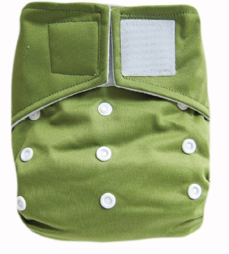 "Kawaii Baby Heavy Duty Hd2 One Size Velcro Cloth Diaper with 2 Large Inserts "" Olive "" - 1"
