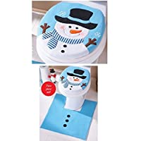 Christmas Decor,Morecome Happy Christmas snowman Toilet Seat and Tank Cover Set